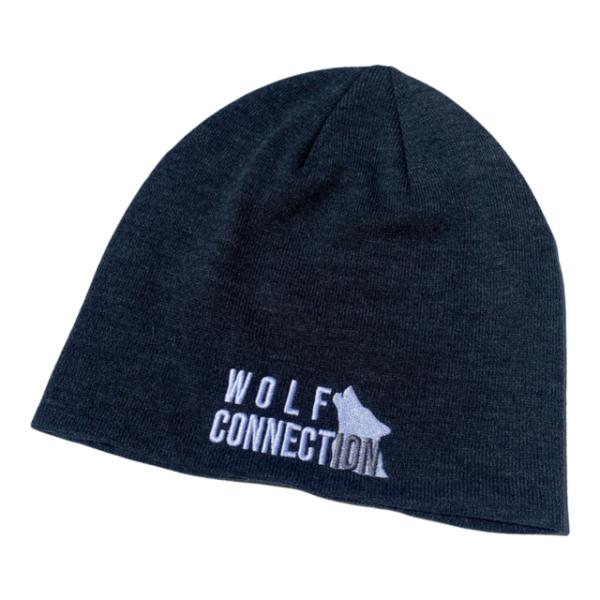 dark grey beanie with Wolf Connection Logo