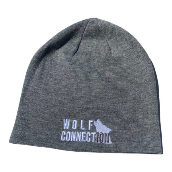 Light grey beanie with Wolf Connection logo