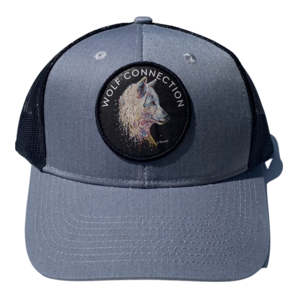Grey trucker hat with Wolf patch